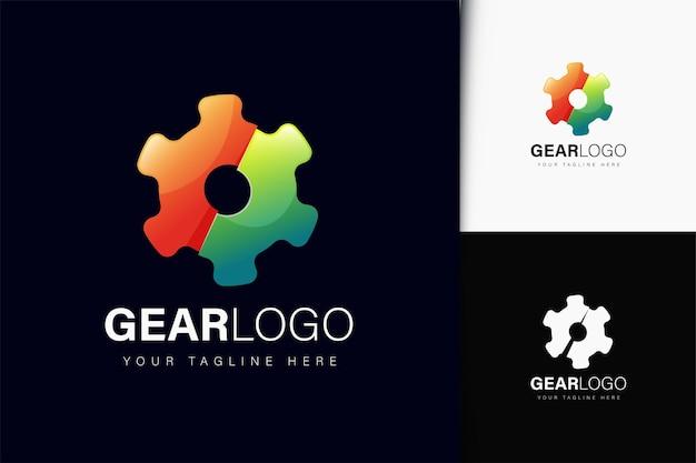 Design do logotipo da engrenagem com gradiente