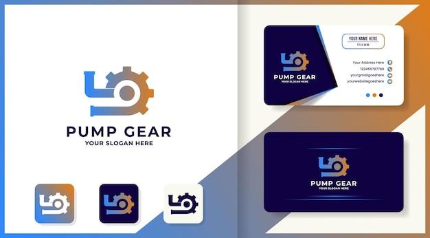 Design do logotipo da engrenagem da bomba e cartão de visita