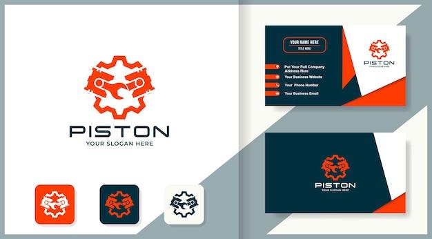 Design do logotipo da engrenagem do pistão da chave inglesa e cartão de visita