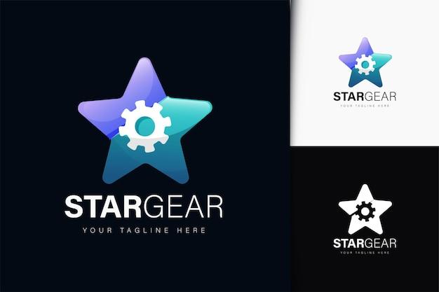 Design do logotipo da engrenagem estrela com gradiente
