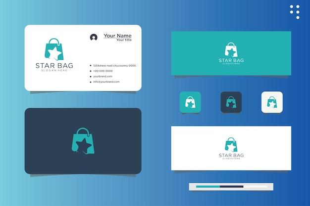 Design do logotipo da estrela da sacola de compras e cartão de visita