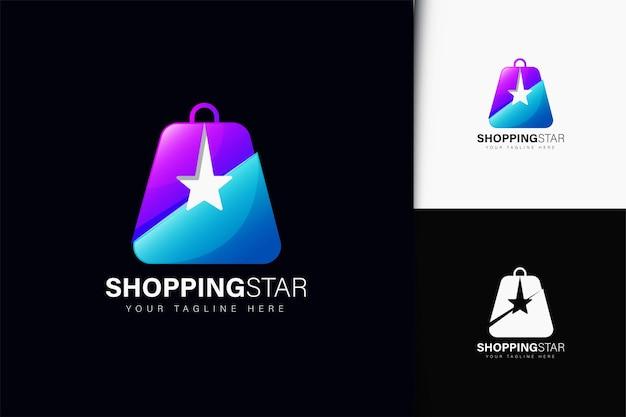 Design do logotipo da estrela do shopping com gradiente