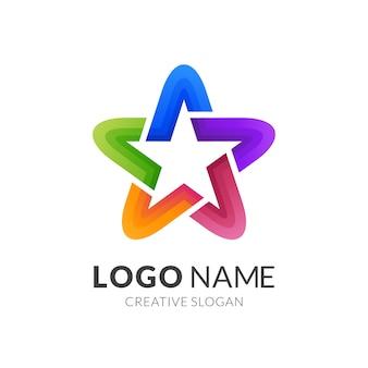 Design do logotipo da estrela, logotipo moderno em gradiente de cores vibrantes