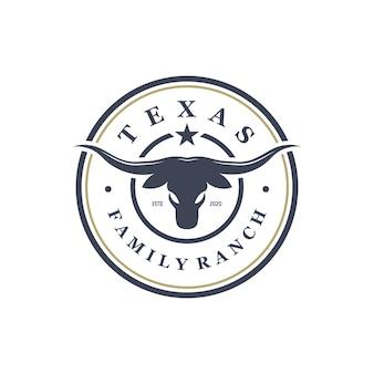 Design do logotipo da etiqueta do distintivo do texas longhorn country western bull vintage
