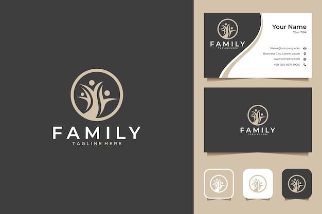 Design do logotipo da família da árvore e cartão de visita