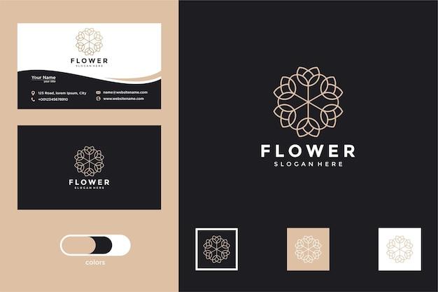 Design do logotipo da flor da beleza e cartão de visita