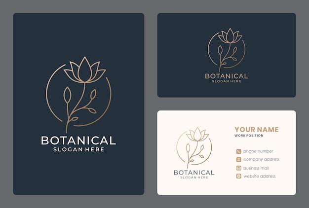 Design do logotipo da flor lineart com cartão de visita
