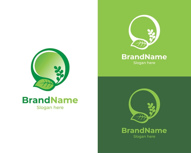 Design do logotipo da folha circular