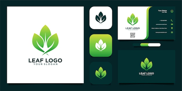 Design do logotipo da folha com cartão de visita