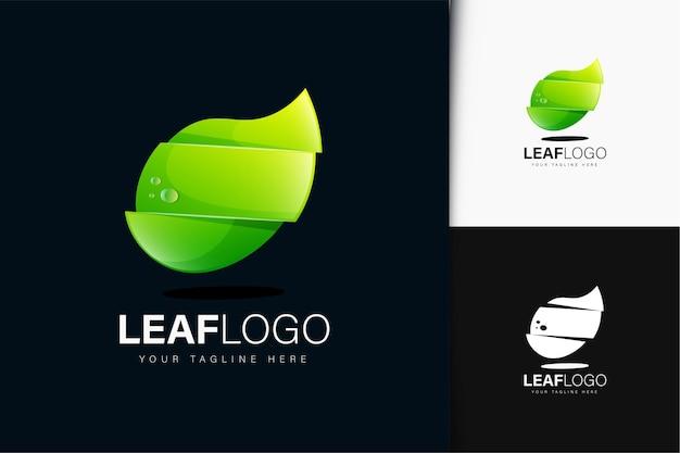 Design do logotipo da folha com gradiente