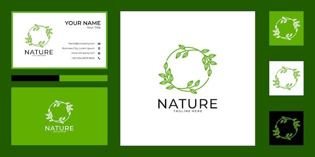 Design do logotipo da folha do círculo da natureza e cartão de visita
