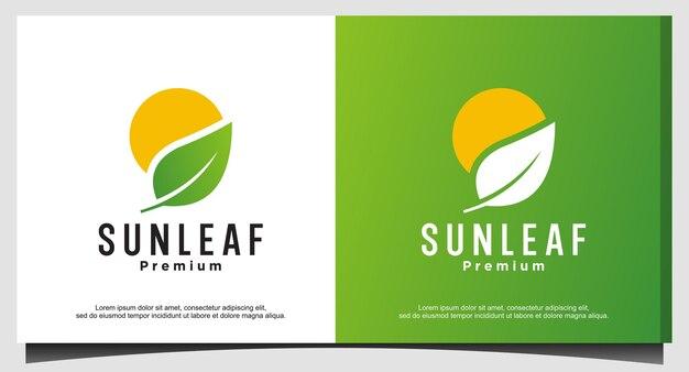 Design do logotipo da folha do sol