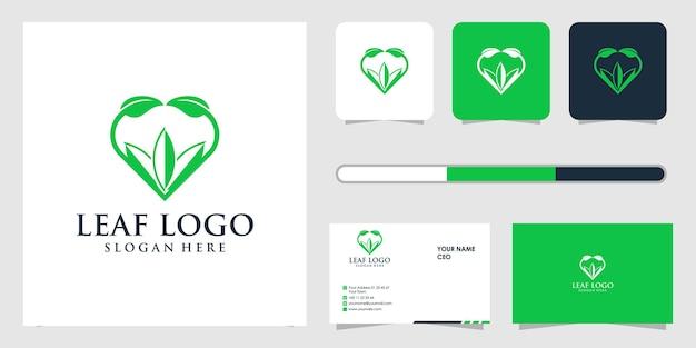 Design do logotipo da folha e modelo de cartão de visita