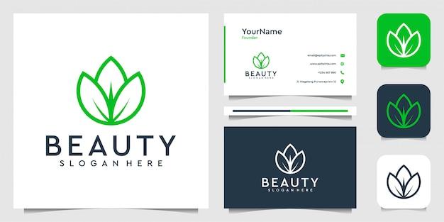 Design do logotipo da folha em estilo de linha de arte. terno para spa, flores, decoração, plantas, verde, botânica, publicidade, marca e cartão de visita