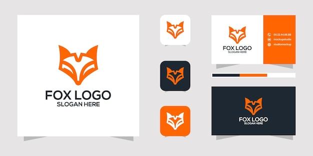 Design do logotipo da fox e cartão de visita.