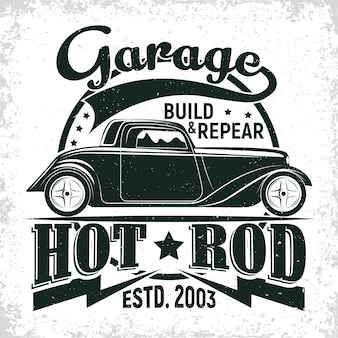 Design do logotipo da garagem hot rod