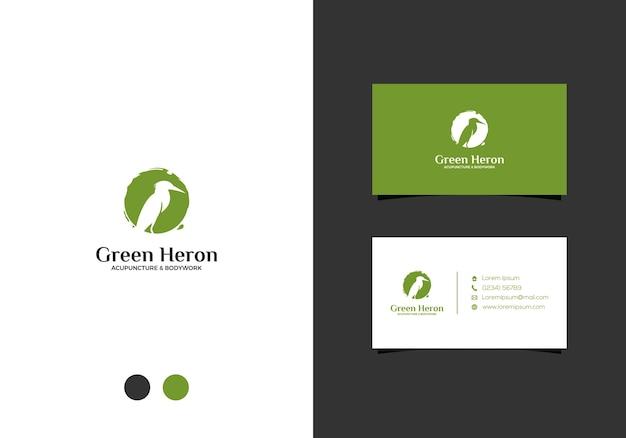 Design do logotipo da garça verde e cartão de visita