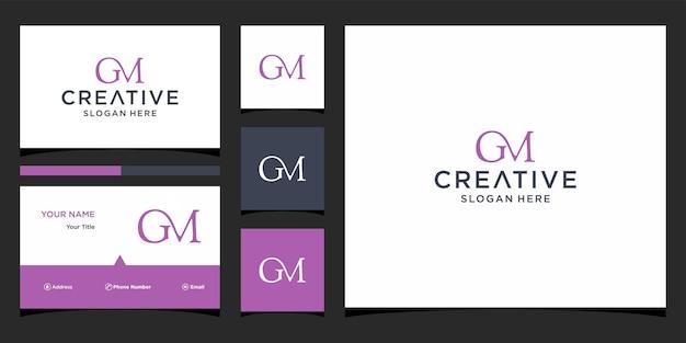 Design do logotipo da gm com modelo de cartão de visita