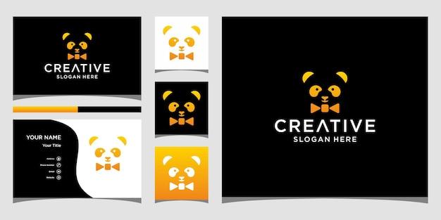 Design do logotipo da gravata panda com modelo de cartão de visita