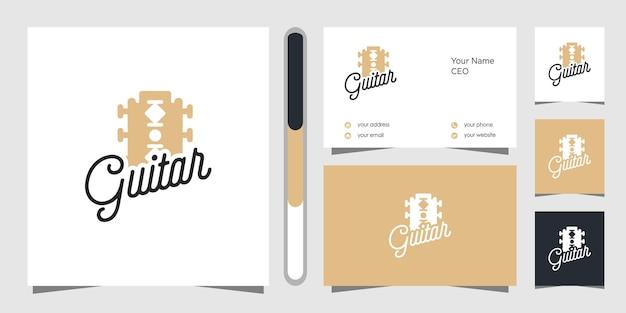 Design do logotipo da guitarra e cartão de visita