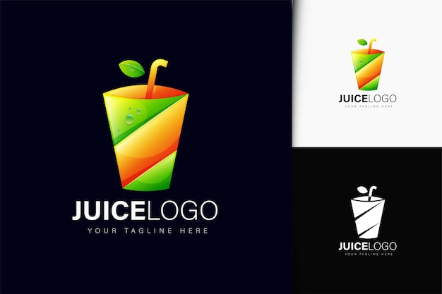 Design do logotipo da juice com gradiente