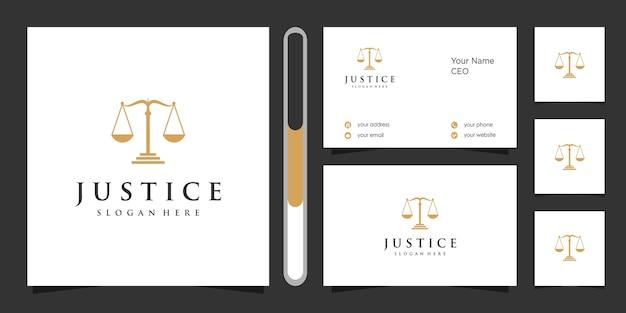 Design do logotipo da justiça e cartão de visita