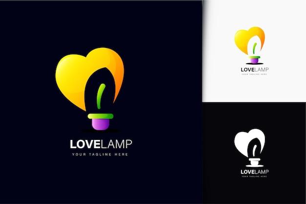 Design do logotipo da lâmpada do amor com gradiente