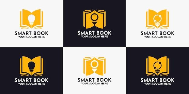 Design do logotipo da lâmpada do livro, logotipo de inspiração para biblioteca e educação inteligente