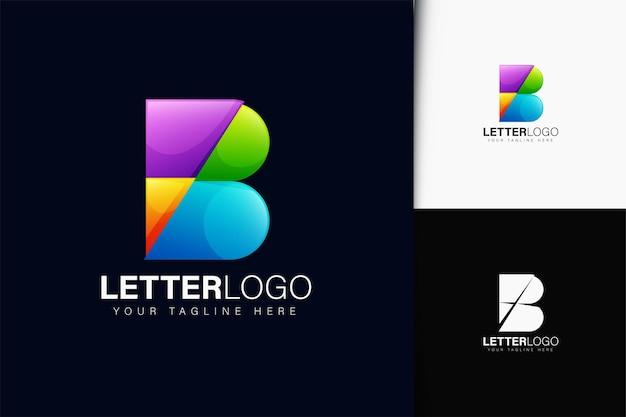 Design do logotipo da letra b com gradiente