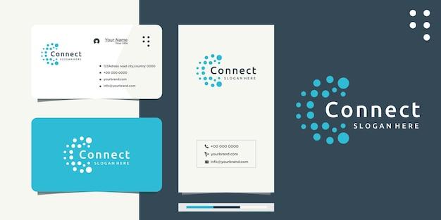 Design do logotipo da letra c círculo de pontos conectados como rede e cartão de visita