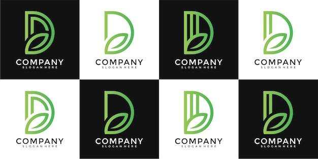 Design do logotipo da letra d folha