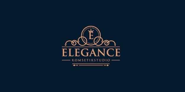 Design do logotipo da letra e com elemento de coroa