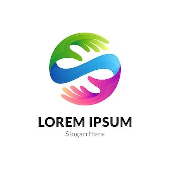 Design do logotipo da letra em forma de mão