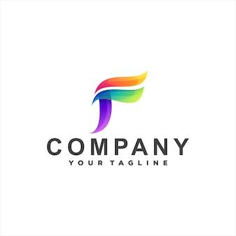 Design do logotipo da letra f gradiente