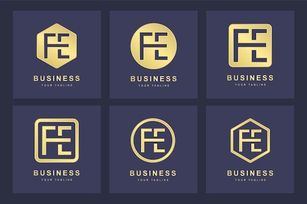 Design do logotipo da letra fe inicial.