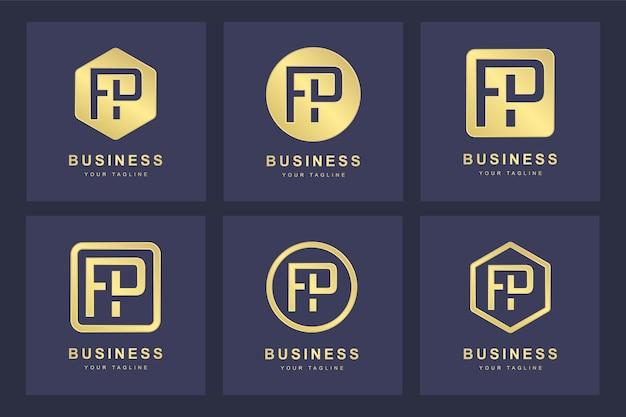 Design do logotipo da letra fp inicial.