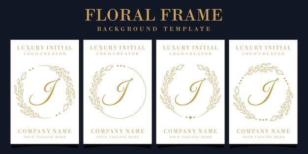 Design do logotipo da letra i de luxo com moldura floral