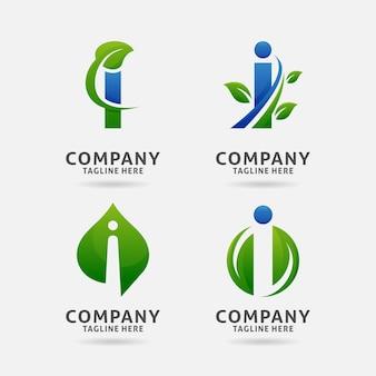 Design do logotipo da letra i folha