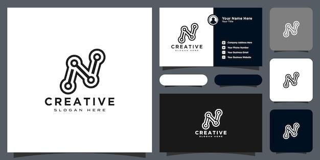 Design do logotipo da letra inicial n com cartão de visita