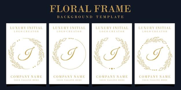 Design do logotipo da letra j de luxo com moldura floral