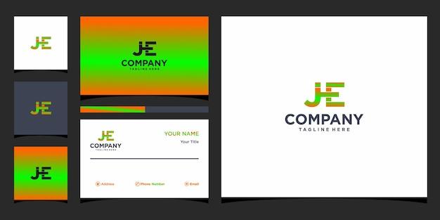 Design do logotipo da letra jhe e cartão de visita premium vector