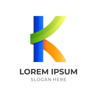 Design do logotipo da letra k com estilo colorido 3d