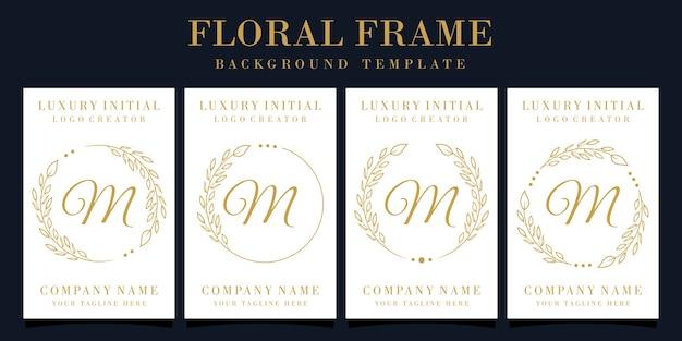 Design do logotipo da letra m de luxo com moldura floral