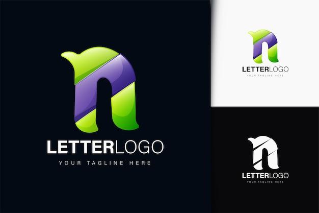 Design do logotipo da letra n com gradiente