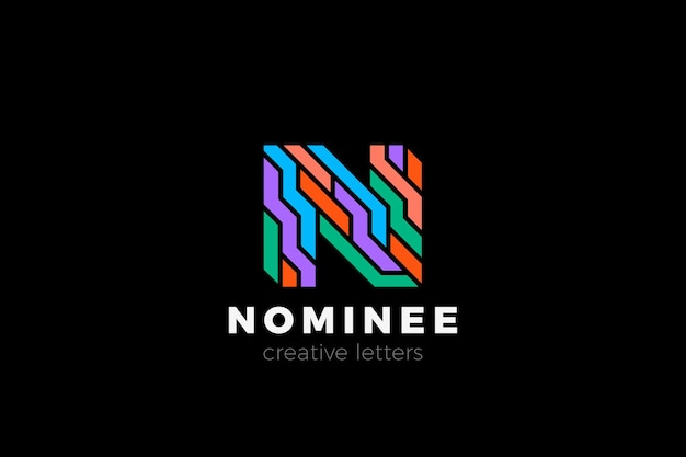 Design do logotipo da letra n em estilo colorido