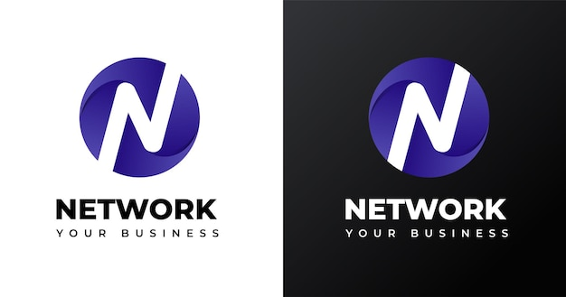 Design do logotipo da letra n inicial com forma de círculo