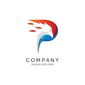 Design do logotipo da letra p águia