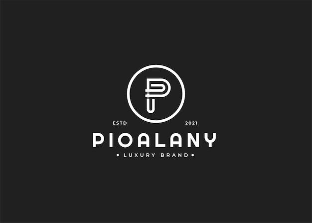Design do logotipo da letra p com forma de círculo