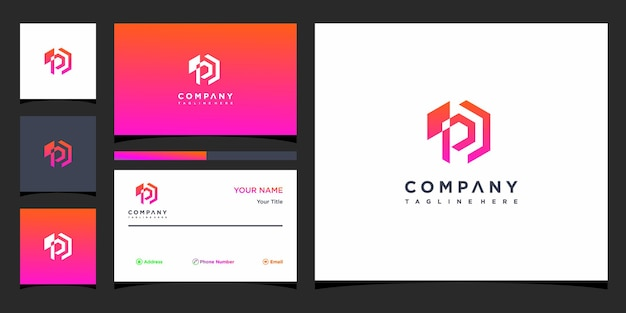 Design do logotipo da letra po e cartão de visita premium vector