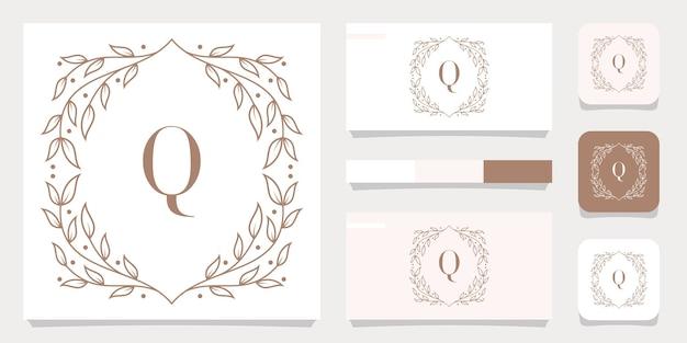 Design do logotipo da letra q de luxo com modelo de moldura floral e design de cartão de visita